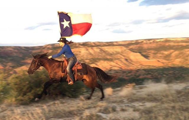 horse and rider carry the Texas flag