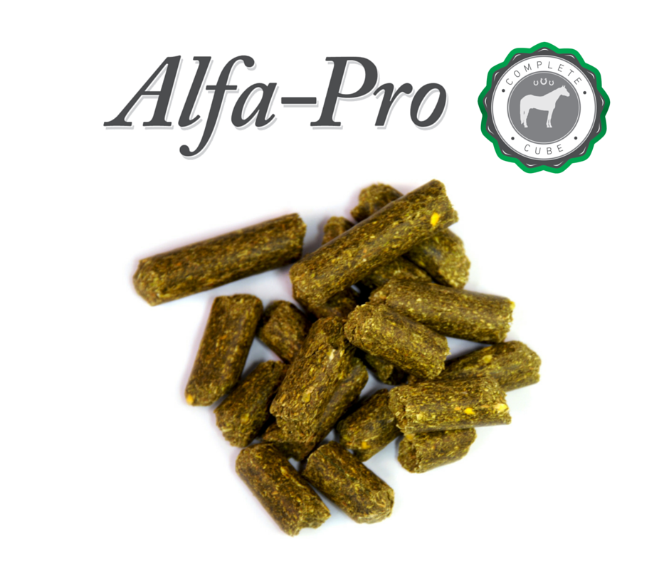 Alfa-Pro pellets on white background