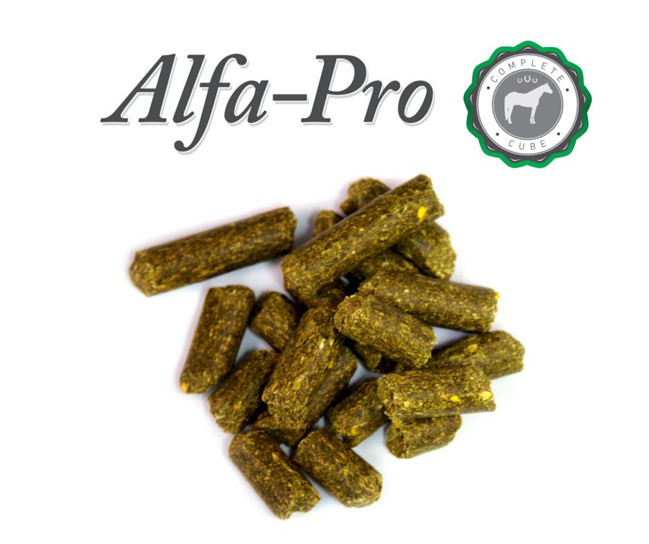 Alfa-Pro pellets on white background