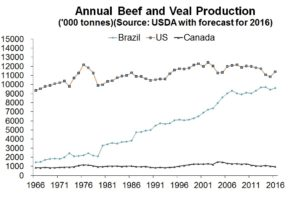 Chart for annual beef and veal production