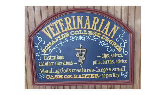 Sign at front desk of Brock Veterinary Clinic