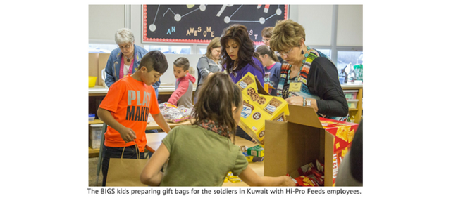 Varla Wilcox helps kids pack care packages for soldiers in Kuwait