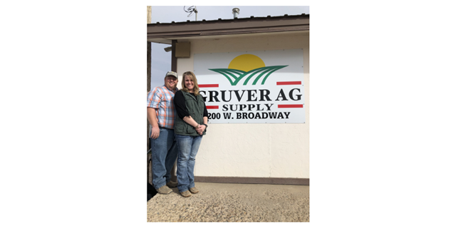 Nick and Katy Slough in front of Gruver Ag Supply