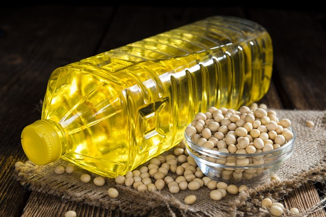 Bottle of soy oil and soybeans