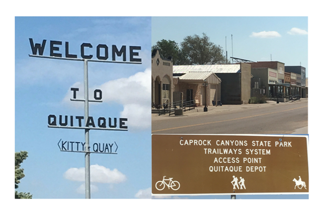 Quitaque, TX Main Street and Welcome sign