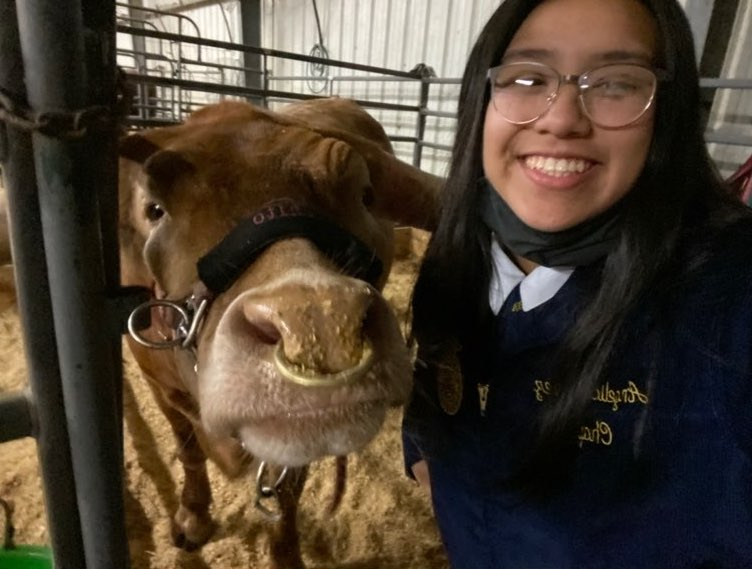 Angelica Lopez and her longhorn